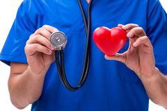 The young doctor in heart care concept. Young doctor in heart care concept royalty free stock image
