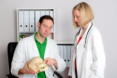 Young doctor in her office with skull. Two young doctors in her office woking together Royalty Free Stock Photos
