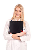 Young doctor holding clipboard Stock Photos
