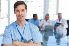 Young doctor holding a file Royalty Free Stock Image