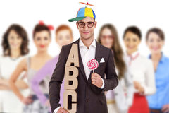 Young doctor holding letters a b c Stock Images