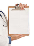 Young Doctor Holding and Pointing Notepad PC Royalty Free Stock Photography