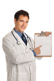 Young Doctor Holding and Pointing Notepad PC Stock Image