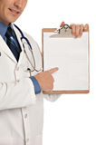 Young Doctor Holding and Pointing Notepad PC Stock Photography