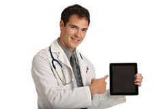 Young Doctor Holding a Touch Pad Tablet PC Stock Image