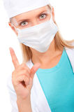 Young Doctor In A Mask Warns Stock Images
