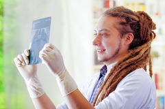 Young doctor with long dread locks posing for camera, holding up x ray image staring at it, clinic in background. Medical concept Royalty Free Stock Photography