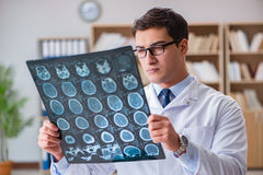 The young doctor looking at computed tomography x-ray image Royalty Free Stock Photography