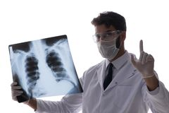 The young doctor looking at x-ray images isolated on white Stock Photo
