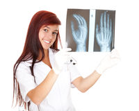 Young doctor looking at x-ray Stock Photo