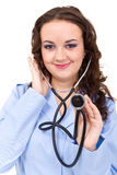 Young doctor or medic with stethoscope Stock Photography