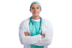 Young doctor occupation job doctor`s overall isolated Royalty Free Stock Images