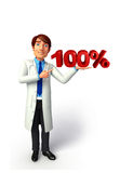 Young Doctor with 100 percentage sign Royalty Free Stock Photo