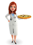 Young Doctor with pizza Stock Photography