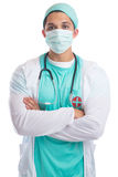Young doctor portrait with face mask occupation job doctor`s ove Stock Photography