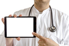 Young Doctor presenting tablet Royalty Free Stock Image