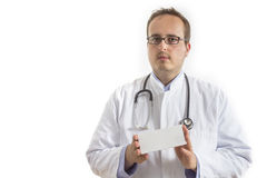 Young Doctor presenting white Box Royalty Free Stock Photos
