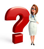 Young Doctor with question mark Stock Images
