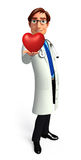 Young Doctor with red heart Stock Images