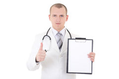 Young doctor showing folder with copy space for text and thumbs. Up isolated on white background Stock Photos