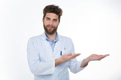 Young doctor showing something to his patient Stock Image