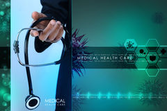 Young doctor showing stethoscope Royalty Free Stock Images