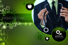 Young doctor showing stethoscope Stock Image