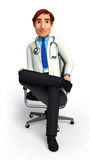 Young doctor is sitting on the chair Stock Photography