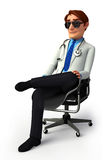 Young doctor is sitting on the chair Stock Images