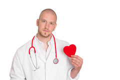 Young doctor - specialist for heart - isolated on white Stock Photo