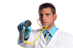 Young doctor with stethoscope. Isolated on a white background royalty free stock photo
