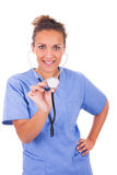 Young doctor with stethoscope isolated on white background stock image