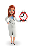 Young Doctor with table clock Stock Photo