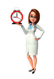 Young Doctor with table clock Royalty Free Stock Photos