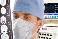 Young doctor with tomogram stock photo