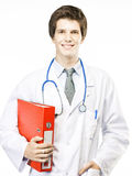 Young Doctor on White background Royalty Free Stock Photos
