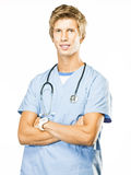 Young Doctor on White background Royalty Free Stock Photo