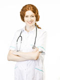 Young Doctor on White background Stock Image