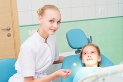 Young doctor woman and girl in dentist office Royalty Free Stock Photo