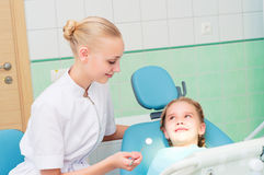 Young doctor woman and girl in dentist office Royalty Free Stock Images