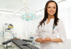 Young doctor woman in surgery room Royalty Free Stock Image