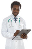 Young doctor writing. Attractive young doctor writing a over white background Stock Image