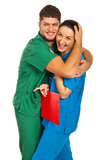 Young doctors in love Stock Photo