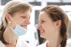 Young doctors profile laughing Stock Photo