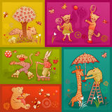 Young doodle animals having fun Royalty Free Stock Photo
