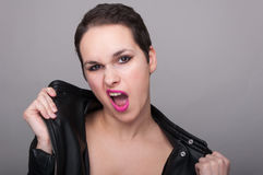 Young dramatic woman with makeup Royalty Free Stock Photography