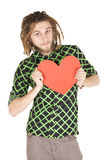 Young dreadlock man with red paper heart isolated Stock Photos