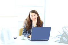 Young dreamy business woman Royalty Free Stock Image