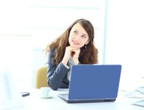 Young dreamy business woman, Royalty Free Stock Photography
