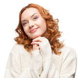 Young dreamy caucasian woman in winter clothing Royalty Free Stock Photography